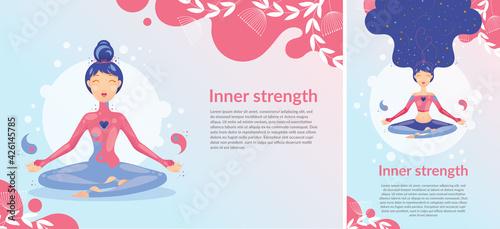 Fototapeta Szczęśliwa kobieta medytująca w pozycji lotosu w różowo niebieskim stroju na pastelowym tle. Projekt na zdrowy styl życia z jogą. Ilustracja wektorowa. obraz