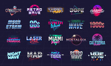 Vector Retro Neon Logo Collection. Set Of 20 Colorful Retro 80s Logo Templates. Prints For T-shirt, Tee. Design For Music Cover, Night Club, Summer Party. Retrowave Cover, Banner, Flyer Template.
