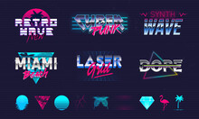 Set Of 6 Retro Neon Logo Templates And 10 Trendy Elements To Create Your Own Design. Print For T-shirt, Typography. Trendy Retro 80's Design For Logo, Label, Banner, Poster. Vector Illustration