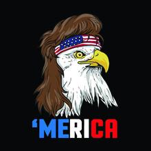 Patriotic Mullet Eagle Independence Day July 4th Wo Curvy Vintage Sport Illustrator Vector Poster Design