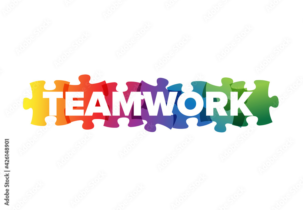 Fototapeta Teamwork Lettering  Made from Puzzle Pieces