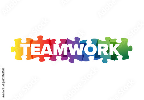 Obraz Teamwork Lettering  Made from Puzzle Pieces - fototapety do salonu