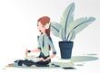 Młoda dziewczyna siedzi na podłodze i projektuje  w dużych białych słuchawka na uszach. Kobieta rysuje słuchając muzyki. Wektorowa ilustracja.