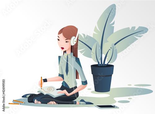 Obraz Młoda dziewczyna siedzi na podłodze i projektuje  w dużych białych słuchawka na uszach. Kobieta rysuje słuchając muzyki. Wektorowa ilustracja. - fototapety do salonu