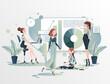 Grupa kobiet wspólnie pracuje nad projektem. Kobieta w biznesie. Praca w biurze prezentacja wyników. Wektorowa ilustracja.