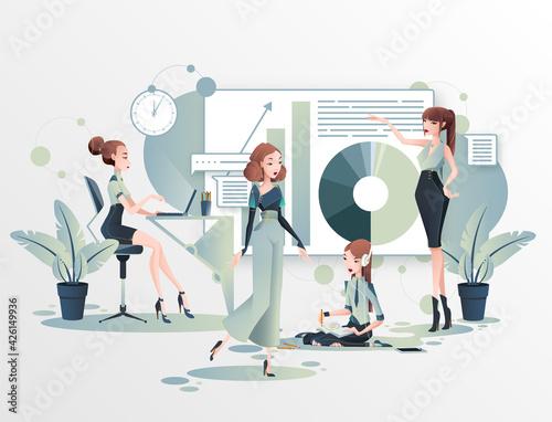 Obraz Grupa kobiet wspólnie pracuje nad projektem. Kobieta w biznesie. Praca w biurze prezentacja wyników. Wektorowa ilustracja. - fototapety do salonu