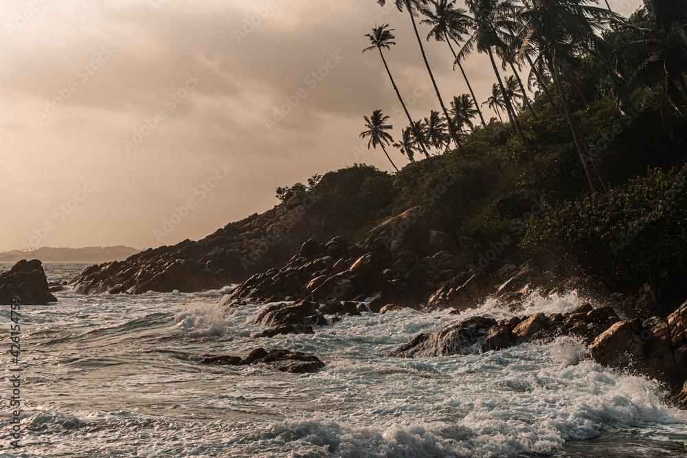 Fototapeta Skalne wybrzeże na tle oceanu, fal i palm o zachodzie słońca.