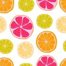 Citruses Lemon Lime Orange Grapefruit Illustration Fruit Hand Drawn Print Textiles Patern Seamless Print Textiles Vegetarian Food Juice Jam