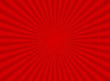 Sunlight Retro Wide Horizontal Background. Red Color Burst Background.