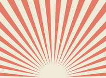 Sunlight Retro Wide Horizontal Background. Pale Red And Beige Color Burst Background.
