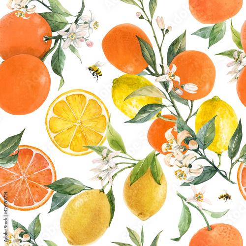 Fotografiet Beautiful seamless pattern with watercolor hand drawn citrus orange lemon grapefruit fruits