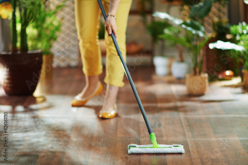Obraz Woman in sunny day doing household work - fototapety do salonu