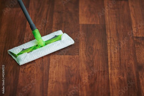 Obraz Closeup on mop and floor in modern living room - fototapety do salonu