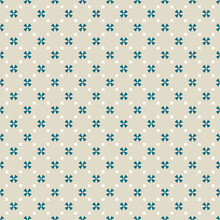 Simple Geometric Floral Seamless Pattern. Abstract Vector Ornament With Flower Silhouettes, Crosses, Small Squares. Elegant Background Texture In Light Green, Teal And White Color. Vintage Design