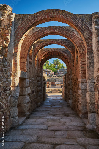 Entrance arches to the Roman amphitheater of Mérida, in the province of Badajoz. Estremadura. Spain