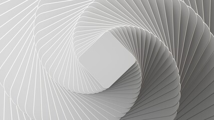 3d render, abstract white geometric background, minimal flat lay, twisted deck of square blank cards with rounded corners