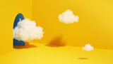 Fototapeta Perspektywa 3d - 3d render, abstract minimal yellow background with white clouds flying out the tunnel