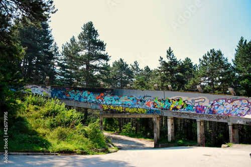 Fotografering Bobsleigh track in abandoned Olympic village in Sarajevo.
