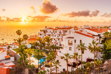 Sunset In Puerto De Santiago City,  Atlantic Ocean Coast, Tenerife, Canary Island, Spain
