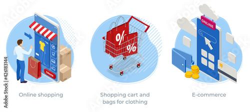 Obraz na plátně Isometric Online shopping app, suitable for promotion of digital stores, Shoppin