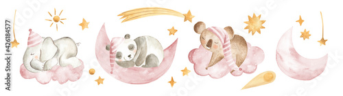 Billede på lærred Watercolor animals baby sleeping nursery Panda Elephant Koala girls pink