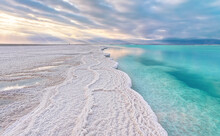 Morning Scenery - White Salt Crystals Beach, Clear Water Near, Typical Landscape At Dead Sea Shore, Israel
