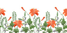 Vector Seamless Floral Border, Pattern. Orange Color Lilies, Daylilies, Green Wormwood, Quinoa, Coronílla. Vector Flowers, Buds, Leaves And Herbs Isolated On A White Background.
