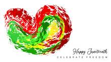 An Abstract Vector Illustration Of Happy Juneteenth And Celebrate Freedom Text With A Splash Of Abstract Brush Strokes Of A Heart On An Isolated White Background