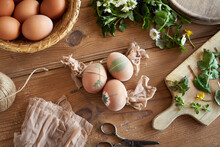 Preparing Easter Eggs For Dyeing With Onion Peels - Attaching Fresh Leaves To Them With Pieces Of Stockings