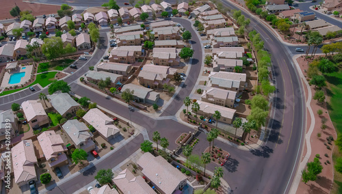 Panoramic view of neighborhood in roofs of houses of residential area the Phoenix Arizona US