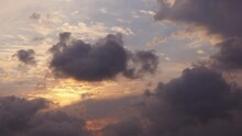 Time Lapse Beautiful Sunset On The Cloudy Sky