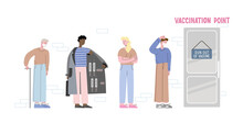 Vaccine Run Out And Smuggler Suggest Fake Vaccine In The Line. Concept Vector Illustration About People Waiting For Medicine In The Queue