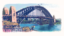 Illustration Of The Sydney Harbour Bridge. Soft Blues And Oranges