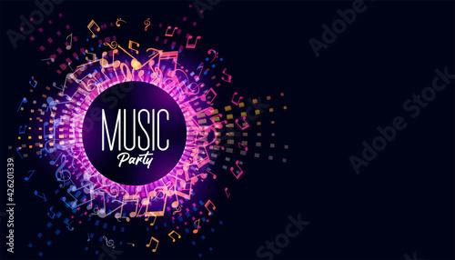 Fotografie, Obraz music festival background with sound notes background illustrations