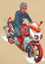 Oni Riding A Motorcycle
