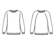 Set Of Crew Neck Sweaters Technical Fashion Illustration With Long Raglan Sleeves, Oversized, Hip Length, Knit Rib Trim. Flat Jumper Apparel Front, White Color Style. Women, Men Unisex CAD Mockup