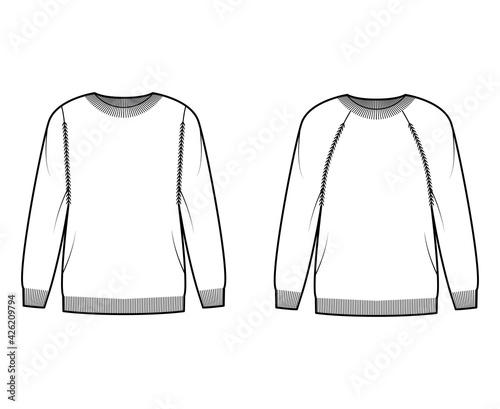 Foto Set of crew neck Sweaters technical fashion illustration with long raglan sleeves, oversized, hip length, knit rib trim