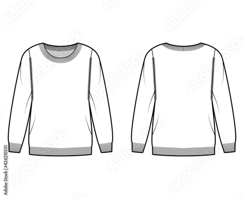 Fototapeta Sweater technical fashion illustration with round neck, long sleeves, Regular fit, fingertip length, Ribbed trims. Flat jumper apparel front, back, white color. Women, men unisex CAD mockup obraz