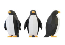 Paper Sculpture Of A Polygonal Penguins, Folded Paper Animal, Papercraft, Isolated On White, 3d Render