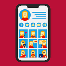 Social Media Post Content Profile Influencer Instagram Icon, Infographic, And Illustration