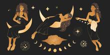 Celestial African American Woman Sacred Astrology Feminine Boho Esoteric Golden And Black Black Art. Moon And Star Magic Golden Vector.