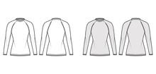 Fisherman Sweater Technical Fashion Illustration With Rib Crewneck, Long Raglan Sleeves, Hip Length, Knit Trim. Flat Jumper Apparel Front, Back, White Grey Color Style. Women Men Unisex CAD Mockup