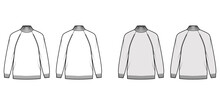 Turtleneck Sweater Technical Fashion Illustration With Long Raglan Sleeves, Oversized, Fingertip Length, Knit Rib Trim. Flat Jumper Apparel Front, Back, White Grey Color Style. Women, Men CAD Mockup