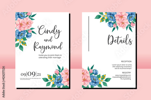 Fototapeta Floral Frame Wedding invitation set, floral watercolor hand drawn Peony and Magnolia Flower design Invitation Card Template obraz