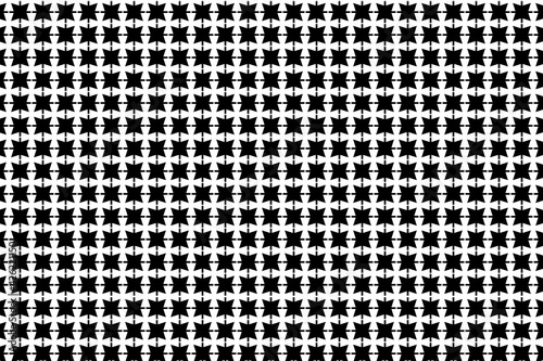 Obraz na plátne Patrón de estrellas negras de cuatro puntas atravesadas por cruces y sobre fondo