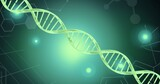 Dna structure and chemical structures against spots of light on green background