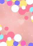 Composition of spots of decorations and hearts with copy space on pink background