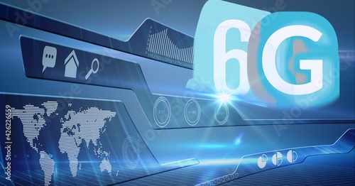 Composition of the word 6g over a website with a world map in background