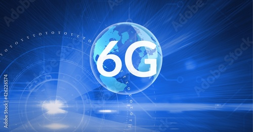 Composition of the word 6g over a globe and multiple whitecircles in background