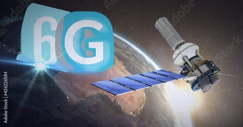 Composition of the word 6g over a globe with a floating satelite in background